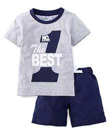 Babyhug Half Sleeves T-Shirt And Shorts Numeric 1 Print - Grey Navy