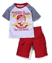 Nannette Treasure Hunter T-Shirt & Shorts Set - White & Red