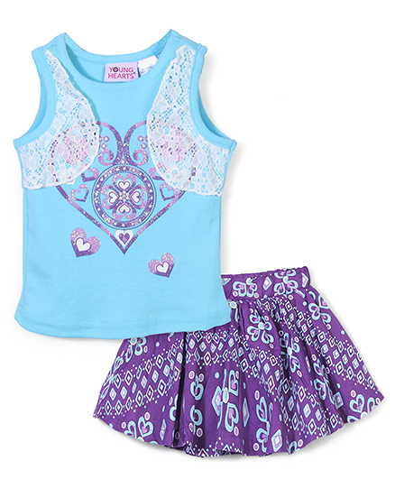 Young Hearts Heart Print Top & Skirt Set - Blue & Purple