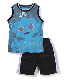 Little Rebels Sleeveless T-Shirt & Shorts Set - Blue & Black