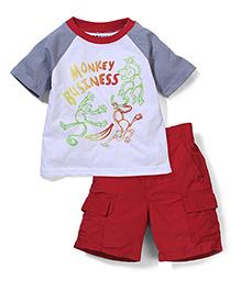 Nannette Monkey Print T-Shirt & Shorts Set - White & Red