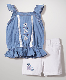 Nannette Flower Print Top & Shorts Set - Blue & White