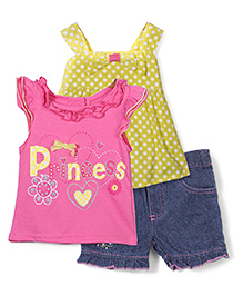 Nannette Sleeveless Tops & Shorts Set - Pink Yellow & Blue