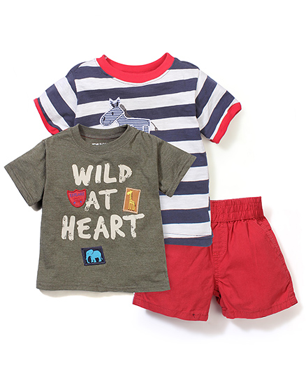 Boyz Wear By Nannette Wild At Heart 3 Piece Set T-Shirt & Short Set - Blue & Red