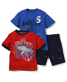 Nannette Shark Print T-Shirt & Shorts Set - Red & Blue
