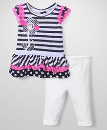 Nannette Floral Dress With Legging - Black, White & Pink