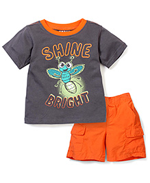 Nannette Shine Bright T-Shirt & Half Pant Set - Orange & Grey