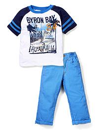 Nannette Byron Bay Print T-Shirt & Jeans Set - White & Blue