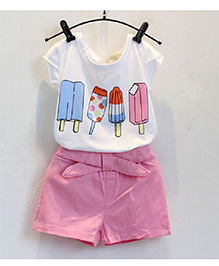 Cherry Blossoms Shorts & T-Shirt With Ice Cream Print - White & Pink