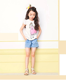 Cherry Blossoms T-Shirt & Shorts With Doll Print - White & Blue