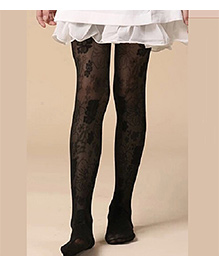Cherry Blossoms Floral Stockings - Black