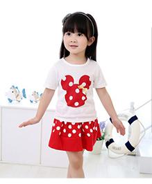 Cherry Blossoms Polka Dot Skirt & Top Set - Red & White