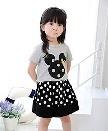 Cherry Blossoms Polka Dot Skirt & Top Set - Black & Grey