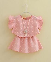 Cherry Blossoms Flutter Sleeves Polka Dot Skirt & Top Set - Peach