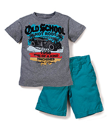 Boyz Wear Old School Print T-Shirt & Half Pant - Grey Green