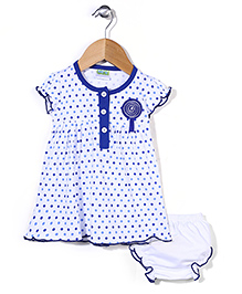 Babyhug Short Sleeves Dotted Frock With Bloomer - White Royal Blue