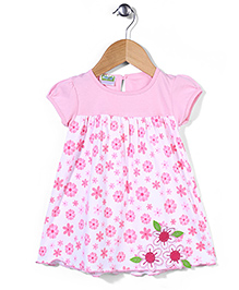 Babyhug Short Sleeves Frock Flower Patch - Pink White