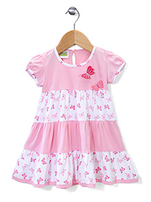 Babyhug Cap Sleeves Frock Butterfly Applique - Pink And White