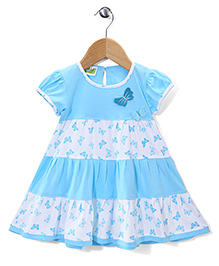 Babyhug Cap Sleeves Frock Butterfly Applique - Blue And White