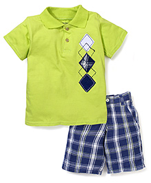 Nannette Triangle Print T-Shirt & Half Pant - Green & Blue