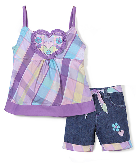 Young Hearts Heart Print Top & Denim Shorts - Purple