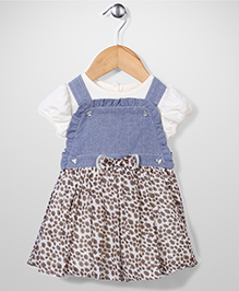 Nannette Dot Print Dress With Bow - Blue & White