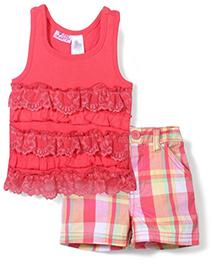 Young Hearts Sleeveless Top & Shorts Set - Pink