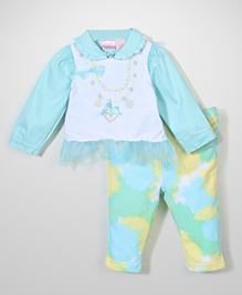 Nannette Stylish Top, Jacket & Legging Set - Blue