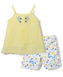 Nanette Floral Print Top & Shorts Set - Yellow & White