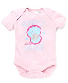 Babyhug Short Sleeves Mommy's Printed Onesies - Light Pink