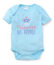 Babyhug Short Sleeves Princess Has Arrived Printed Onesies - Blue