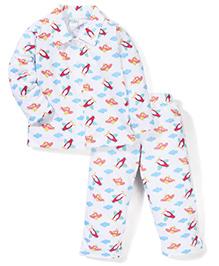 Babyhug Full Sleeves Aeroplane Printed Night Suit - White