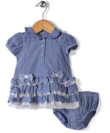 Nannette Elegant Dress With Bloomer Set - Blue