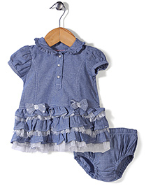 Nannette Elegant Dress With Bloomer Set - Blue