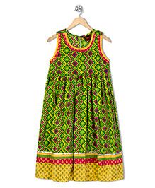 Twisha Printed Summer Dress - Green