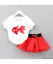 Little Muffet Fish Print Top & Skirt Set - Red & White