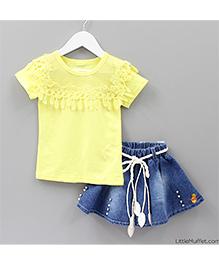 Little Muffet Top & Denim Skirt Set - Yellow & Blue