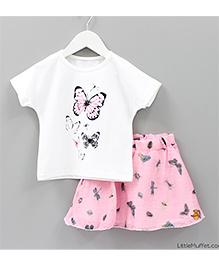 Little Muffet Butterfly Top & Skirt Set - Pink & White