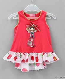 Little Muffet Girl Print Summer Top - Red