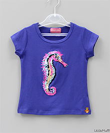 Little Muffet Sequined Seahorse Top - Blue