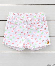 Little Muffet Sweet Kiss Denim Shorts - White