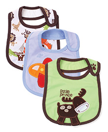 Mee Mee Baby Bibs Embroidered Pack Of 3 - White Blue Green