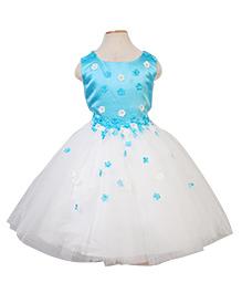 Party Princess Paty Wear Dress With Flowers - Sky Blue