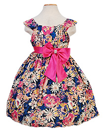 Party Princess Party Wear Dress With Flower Printed - Navy Blue