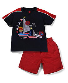 Spark Half Sleeves T-Shirt and Shorts Set Little Marine Print - Red Blue