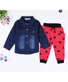 Dells World Stylish Shirt Star Print Track Pant & T-Shirt Set - Red & Blue