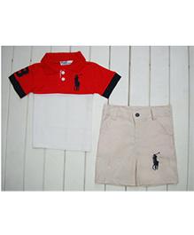 Dells World Polo Neck T-Shirt & Shorts Set - White & Red