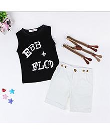 Dells World Summer Sleeveless T-Shirt Shorts & Suspenders Set - White Black & Brown