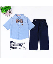 Dells World Stylish Shirt Pant Bow Tie & Suspenders Set - Blue