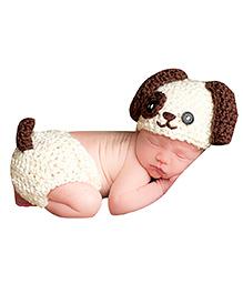 The Original Knit Lil Puppy Crochet Photo Prop - White